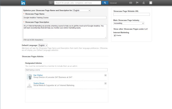 how to create a showcase page linkedin